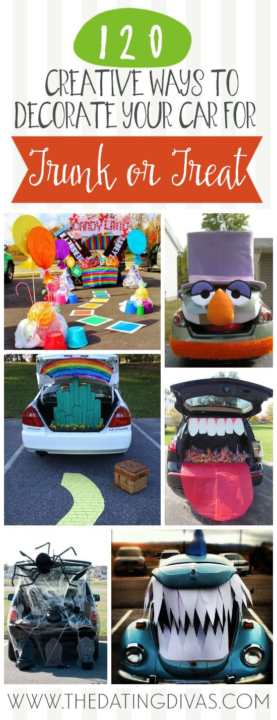 Amazing trunk or treat decorating ideas in one place! This is a goldmine of ideas! www.TheDatingDivas.com