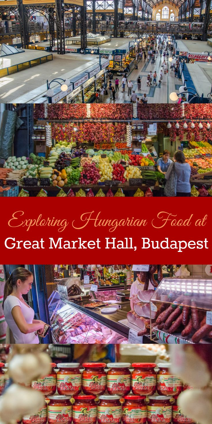 The most delicious thing to do in Budapest: Take a food tour in Budapest, Hungary. Visit the stunning Great Market Hall to sample the best Hungarian ingredients, beverages, and foods.