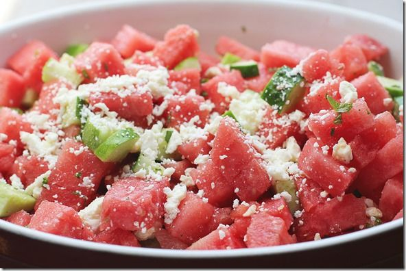 watermelon cucumber salad - this is the best thing I've eaten in a long time!!