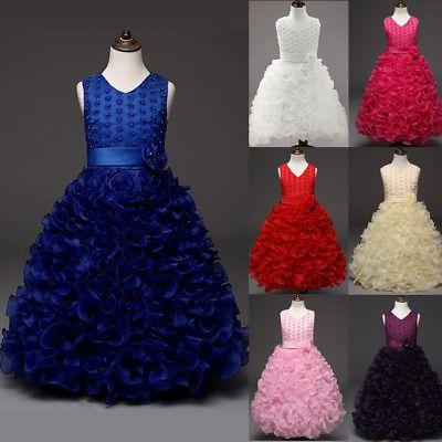 Fest-kleid Kinder Pailletten TUTU Kleid Blumen Mädchen Hochzeit Party GR.100-150