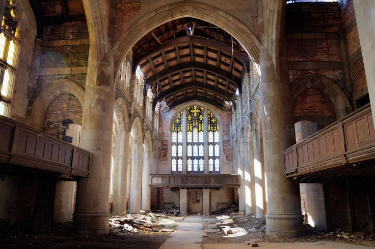 You might be surprised by the location of this gorgeous church: Gary, Indiana. It cost $1 million to build in 1926 and once had a congregation of over 3,000 thanks to the booming steel town, but as employment declined and crime rose, the church dwindled and was abandoned in 1980.   - HouseBeautiful.com