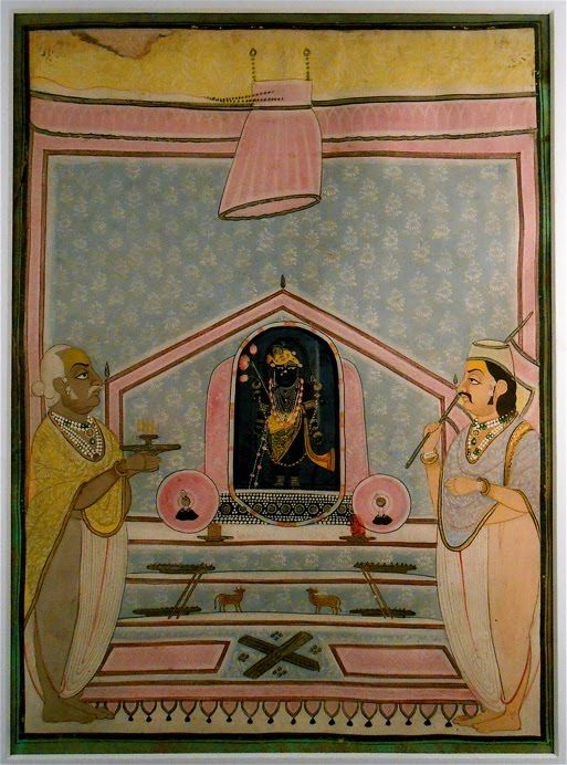 Shrinath-ji Enshrined. miniature painting. in his form as Krisna lifting the Govardhan hills to save his home village from flooding.  private collection
