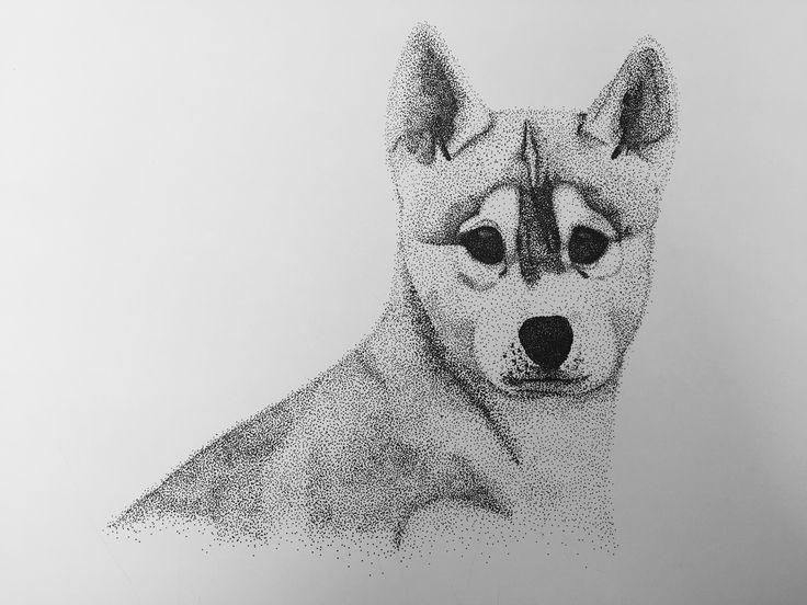• Husky puppy • Dot drawing • Black ink