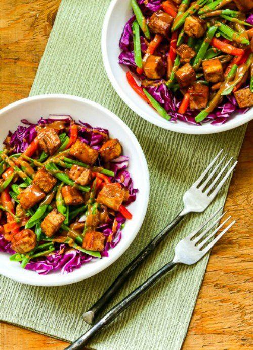 Vegan Red Cabbage Bowl with Tofu and Peanut-Sriracha Sauce found on KalynsKitchen.com