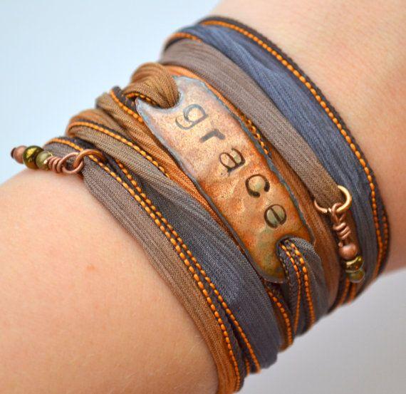 GRACE... Boho Silk Wrap Bracelet- Silk Ribbon Bracelet- Yoga wrap- Indie- Hippie-Folk- Country chic