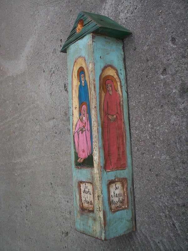 Saints - Wall Hanging Wooden Rustic Painted Catholic Shrine Religious Shrine Original Wood Sculpture Art. 293.00, via Etsy.