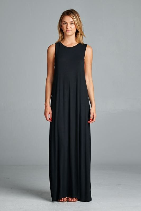 """Loose Fit, Sleeveless, Floor length black maxi dress - 95% Rayon, 5% Spandex - 56"""" length - Made in the USA"""