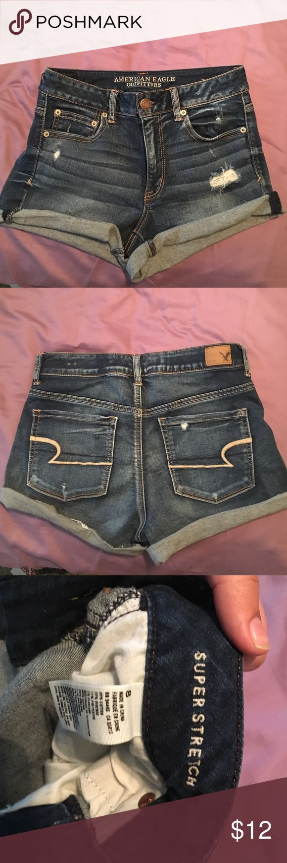 High waisted Jean shorts from American Eagle Super cute high waisted cuffed denim shorts from Ameican eagle. Only worn once or twice so great condition! American Eagle Outfitters Shorts Jean Shorts