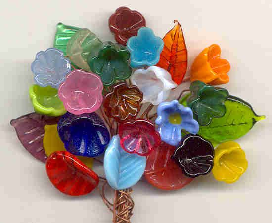 Vintage handmade Murano Glass Flowers and Leaves with Copper wire stems. Such colour!