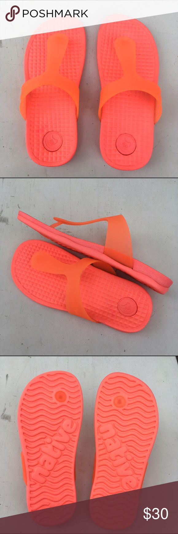 Native brand Blanca sandal in popstar orange Very comfortable sandal in fun neon orange. Shock absorbent material easy to walk on, good for everyday walking and beach day outing! Brand new w/o tag. Native Shoes Sandals