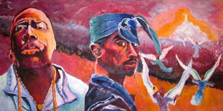 Arrival: Pac and Big (2011)  - Oil on canvas – 48 X 24 inches – This work celebrates the arrival of Tupac Shakur and the Notorious B.I.G. into what I imagine to be a glorious afterlife. They look back at us as if to provide assurance that they're fine where they are. They have a peace in death that eluded them in life.  - See more at: http://www.michaeloart.com/product/arrival-pac-and-big/