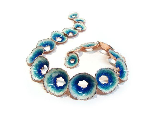 Cheryl Eve Acosta's sculptural enamelled necklace.