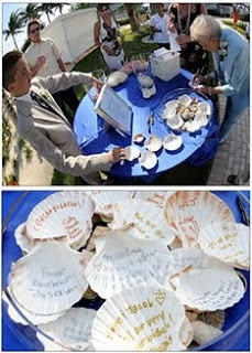 Beach Wedding Ideas - Messages on Seashells.