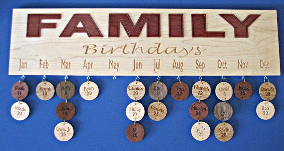 Wood Calendar Birthday Board - Celebrate those special days in Style with a solid wood Calendar by RCOriginalsGallery on Etsy,
