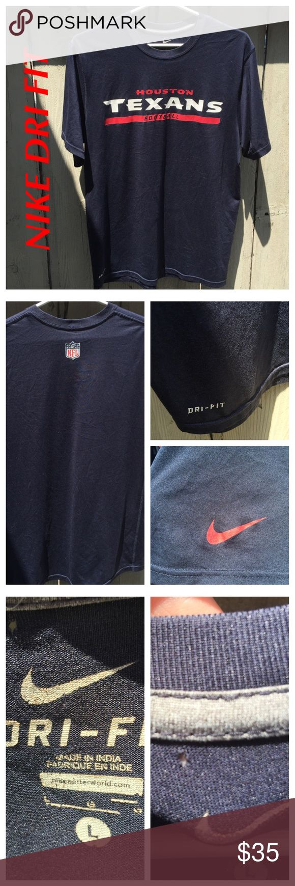 🏈NIKE! AND MY FIRST MENS/UNISEX LISTING!🏈 🏈NIKE DRI FIT UNISEX/MENS- TEXANS NFL JERSEY/TEE. COLLECTORS EDITION! Think JJ WATT, hoo-rah! SIZE LARGE IN MENS. In excellent condition. One tiny hole near tag; see photo. See all other details above in photo #4. Ask all questions before purchasing. Price firm unless bundled.🏈 Nike Shirts Tees - Short Sleeve