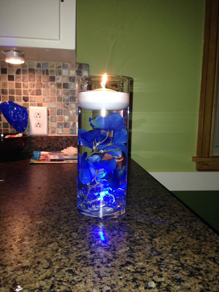 Blue led submersible lights clear rocks fake flowers