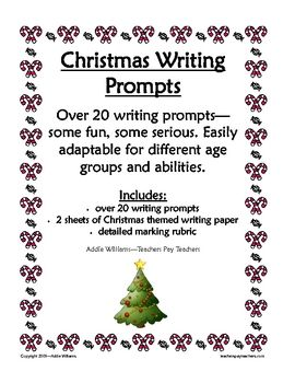 christmas writing prompts includes planning pages rubric and more - Christmas Writing Pages