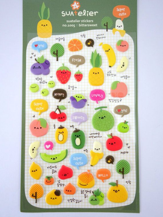 Korean Fruit Emoticon Faces Puffy 3d Stickers Face Emoticons