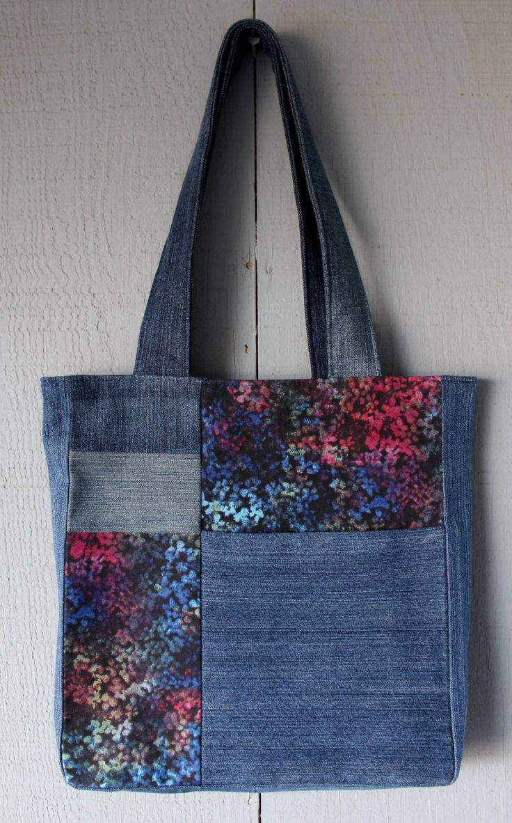 Multi-Colored Art Inspired Denim and Fabric Patch with Front Pocket Tote and Lined with Same Multi-Colored Polyester Canvas Fabric by AllintheJeans on Etsy