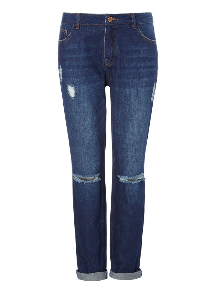 An all-season staple, our boyfriend jeans are crafted with a relaxed fit with low waist and straight leg. This piece also features rips and distressed hems for an authentic look. Dark denim boyfriend jeans Pure cotton With stretch Relaxed style Loose fit Low rise 4 pockets Rips and distressed hems Model's height is 5'11
