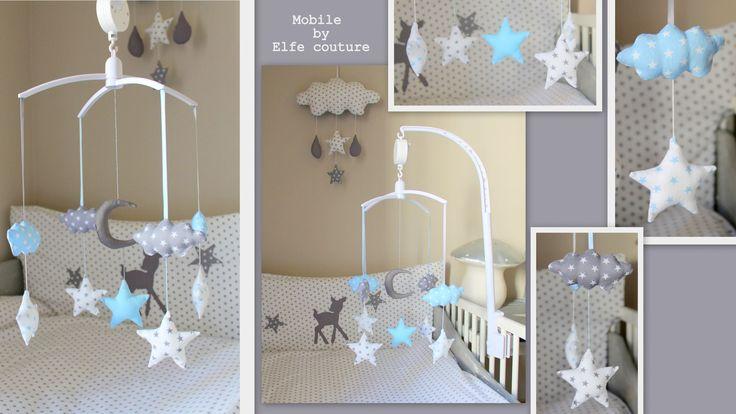 1 Mobile thème nuages, étoiles & lune - modèle déposé INPI - Tons blanc, gris & bleu layette ( possibilité version : Chambre d'enfant, de bébé par elfe-couture