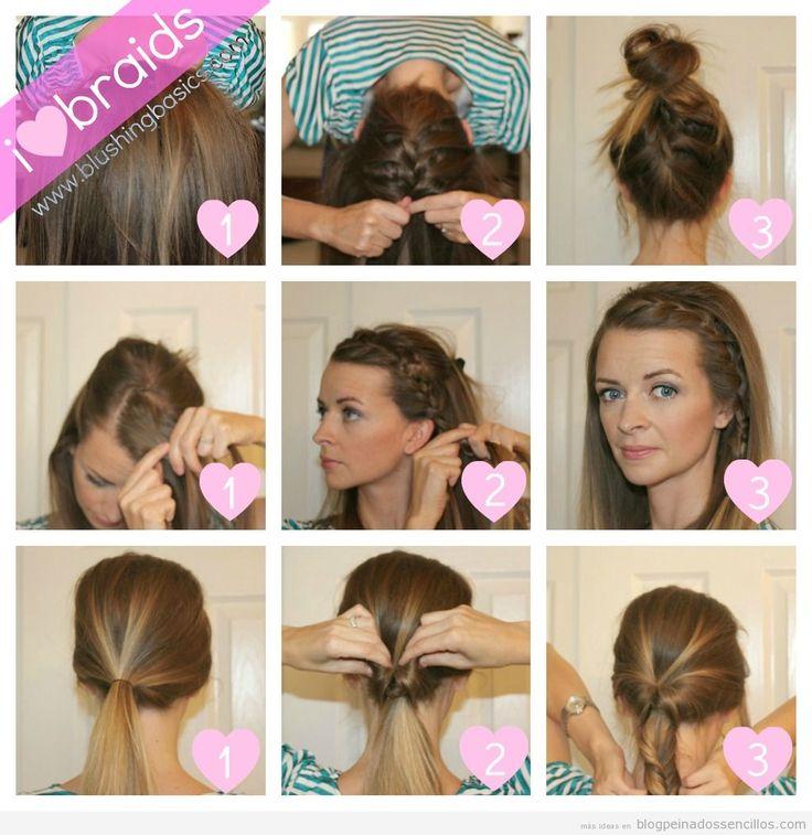 tres tutoriales en uno de blushing basics podemos aprender a hacer tres peinados sencillos y rpidos para media melena y pelo largo en slo tres pasos