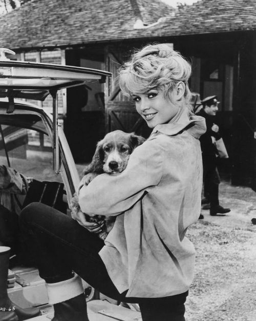 Brigette Bardot and dog