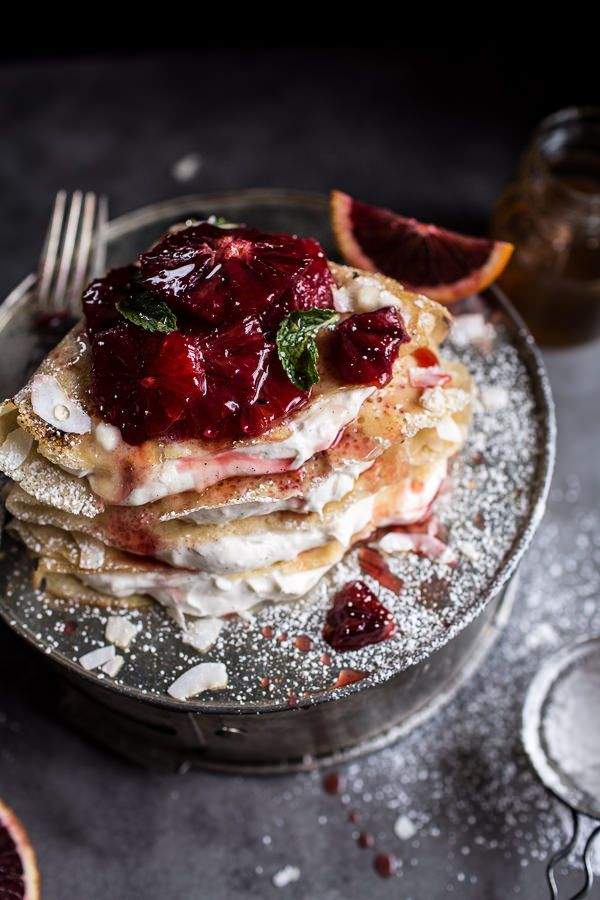 Coconut Honey Crepes with Whipped Mascarpone + Blood Orange Compote | halfbakedharvest.com @hbharvest