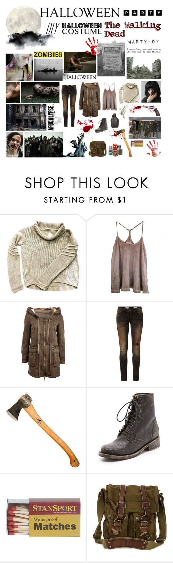 Halloween Party: The Walking Dead! by marty-97 on Polyvore featuring moda, Helmut Lang, AllSaints, Rich & Royal, Steve Madden, Belstaff and E.vil