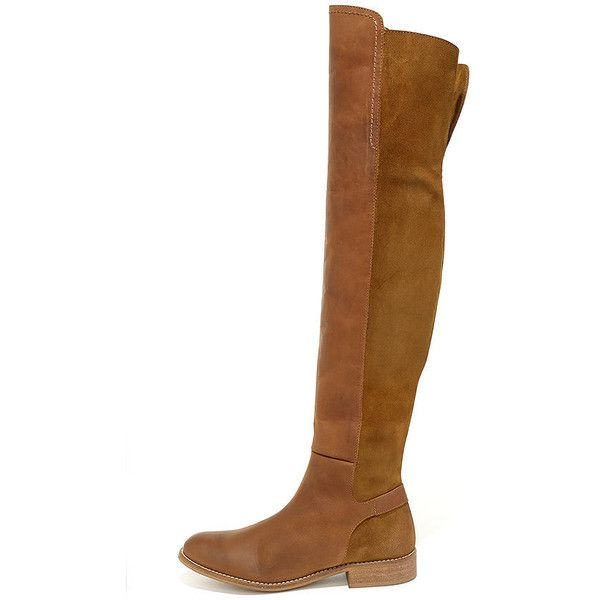 MTNG Elinor 94251 Tan Leather Over the Knee Boots (380 CAD) ❤ liked on Polyvore…