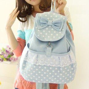 canvas bag,Vintage Pastel Bleu Canvas Backpack girl backpacking