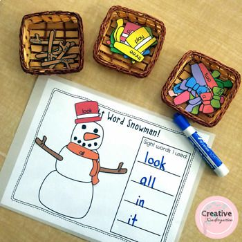 Building with Sight Words Literacy Centers for Kindergarten