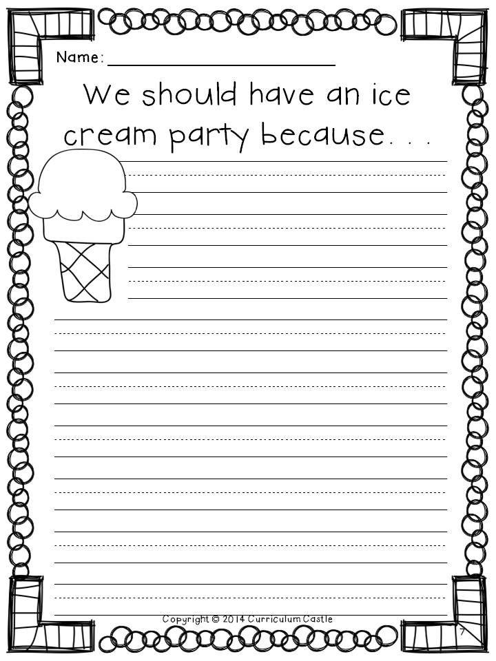 FREEBIE! Persuasive writing ice cream party activity.