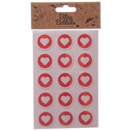 Autocollants Coeur - 60 Stickers par paquet