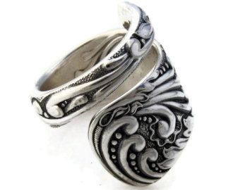 Amazing Spoon Ring Choose Your Size Wrapped Opal Rococo