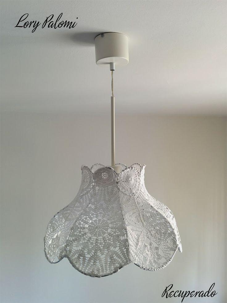 Lorypalomi: LAMPARA TECHO BLANCA CON PANTALLA RECUPERADA EN ganchillo. Crochet white lamp shade granny chic
