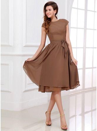 Vestidos princesa/ Formato A Decote redondo Coquetel De chiffon Vestido de madrinha com Curvado
