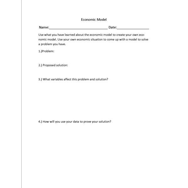Lesson Plan on the Economic Model with Worksheet