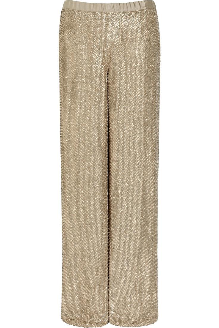 Embellished silk-chiffon pants by Michael Kors