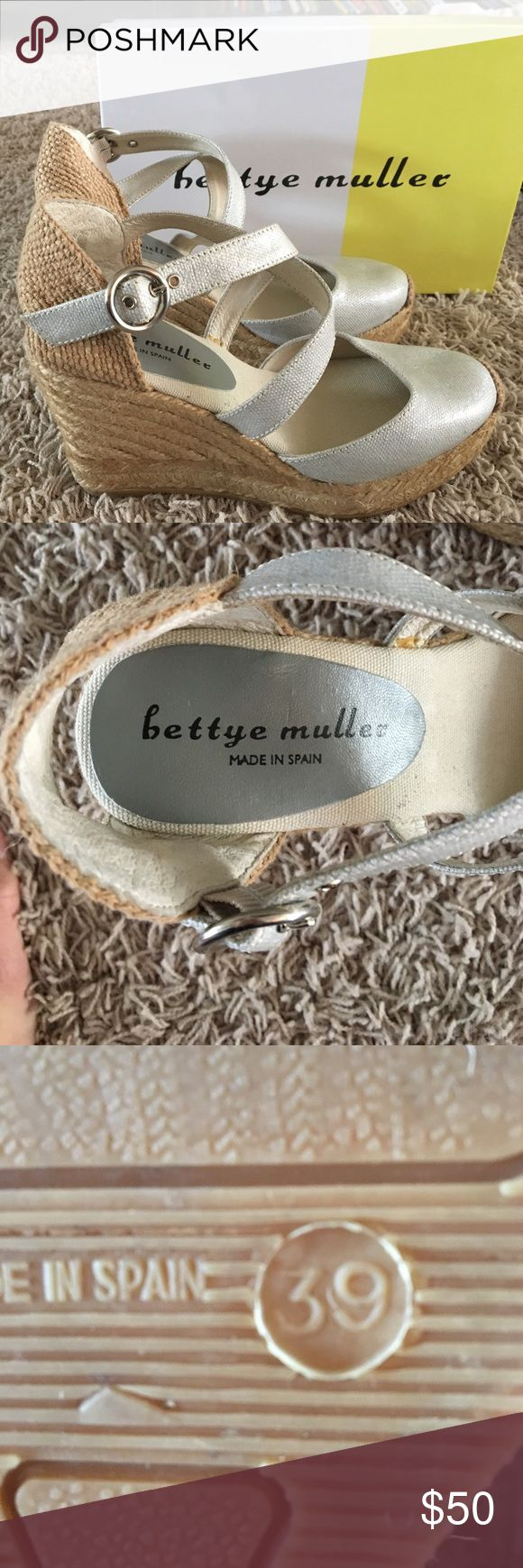 Bettye Muller Katy Bis platform Espadrilles About 3.5 inch heel. Platinum color. Seychelles Shoes Platforms