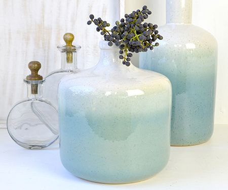 Ombre Vases in aqua and off-white with a subtle speckled glaze for character. Teamed with deep purple berries, these look amazing on a timber table.