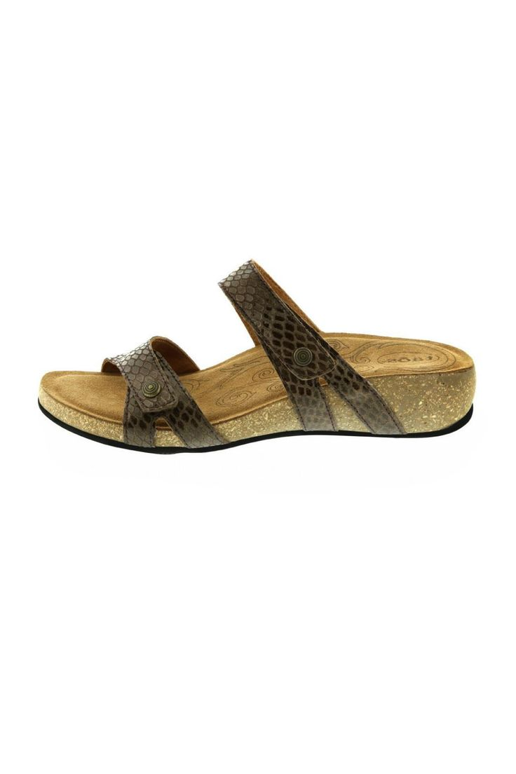 "This Taos sandal has an easy step-in and go design with snake embossed leather and metal rivet embellishments. Features a lightweight padded contour cork footbed with suede lining, 3/4"" heel and fully adjustable velcro straps.      Heel height: 0.75""   Double Strap Sandal by Taos Footwear. Shoes - Sandals - Flat California"