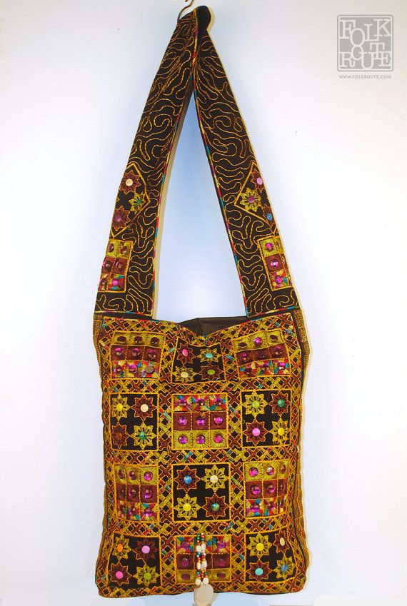 Gujrat Kutch New Long Shoulder Black Mix Bag by FolkRoute on Etsy