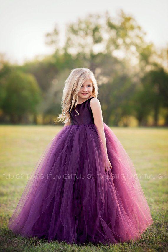 87e07afef0 Purple Flower Girl Dress Plum Tutu Dress Eggplant Tulle Dress Flower Girl  Wedding - All Colors