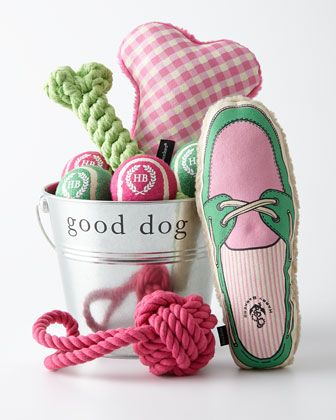 #ONLYATNM Only Here. Only Ours. Exclusively for You. Four-quart galvanized Good Dog Gift Bucket holds a canvas boat shoe toy, canvas gingham bone toy, rope tug and toss, rope bone toy, and four Harry
