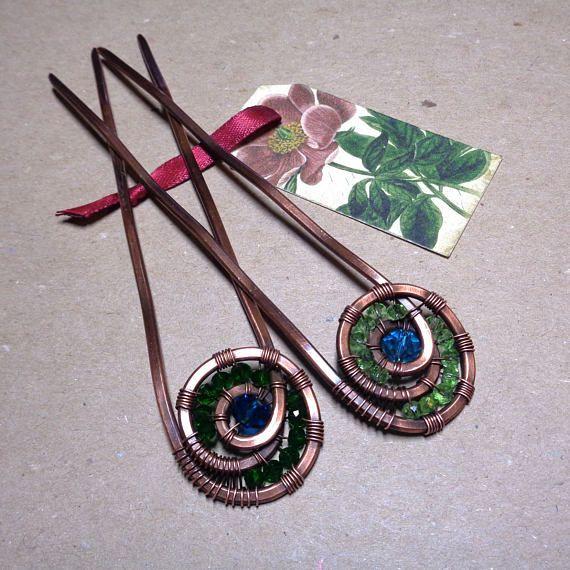 Set of 2 Copper Hair Pins  Beaded Hair Forks  Boho Hair