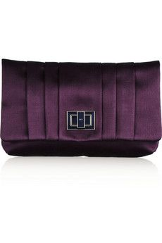 Anja Hindmarsh Gracie pleated satin clutch - more here: http://mylusciouslife.com/luscious-loves-emilio-pucci-violet-dress/