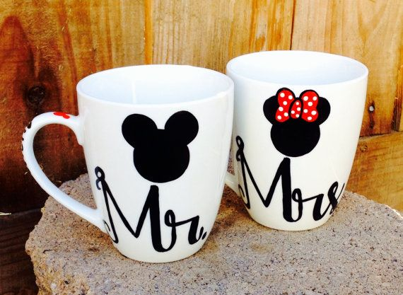 Mr. and Mrs. his and hers Mickey and Minnie coffee mugs set of 2 Wedding gift Anniversary gift on Etsy, $22.00