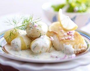 Dill-Béchamel-Kartoffeln mit Bratfisch