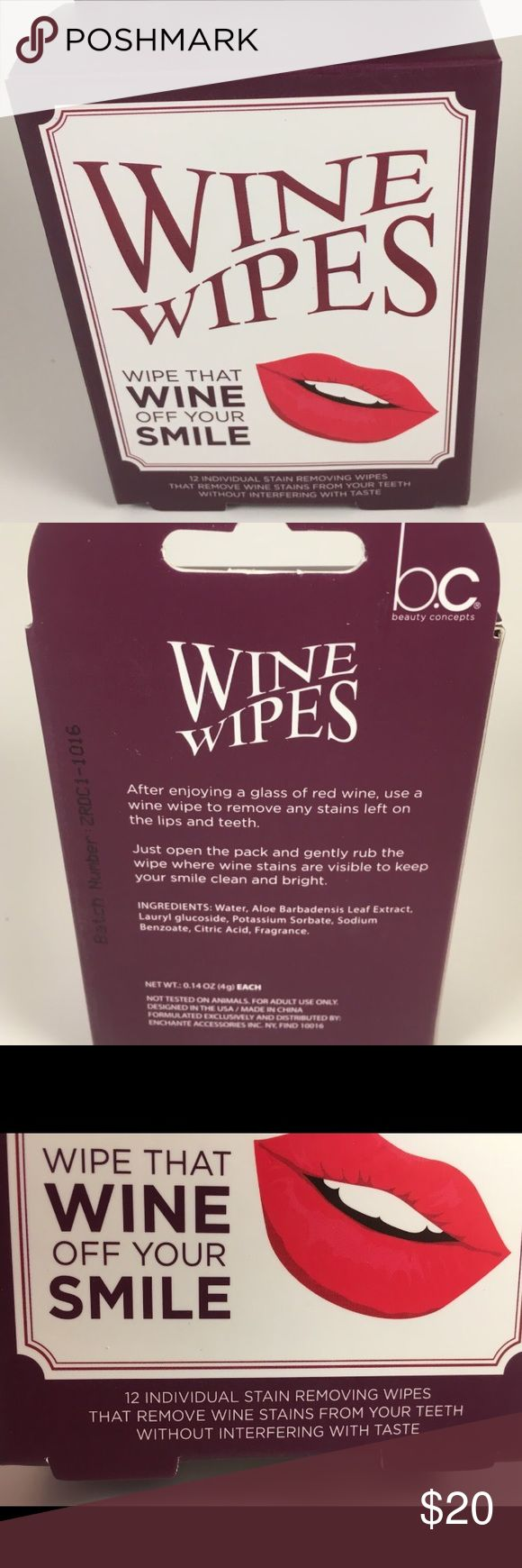 Wine wipes individually wipes 12 pack Brand new! 12 individual stain removing wipes that removes wine stains from your teeth without interfering with taste. These things are awesome! Individual wipes for on the go. Beauty Concepts Makeup Lipstick